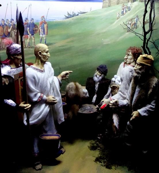 Встреча римлян с местным населением. Диорама