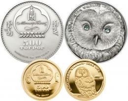 Монета Монголии «Длиннохвостая неясыть»