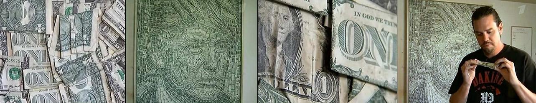 Художник из США создает свои картины из банкнот