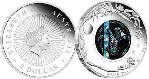 Монета с опалом «Коала»