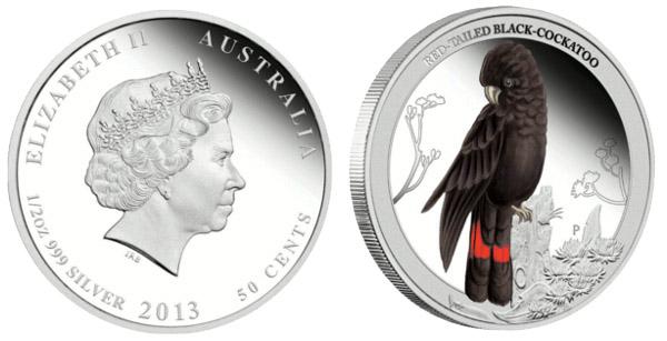 Монета «Краснохвостый черный какаду»