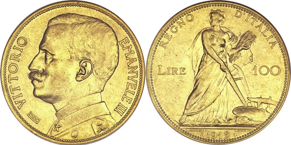 Итальянские 100 лир образца 1910—1927 гг. (гравёр Egidio Boninsegna, 32,2581 г 900-пробного золота