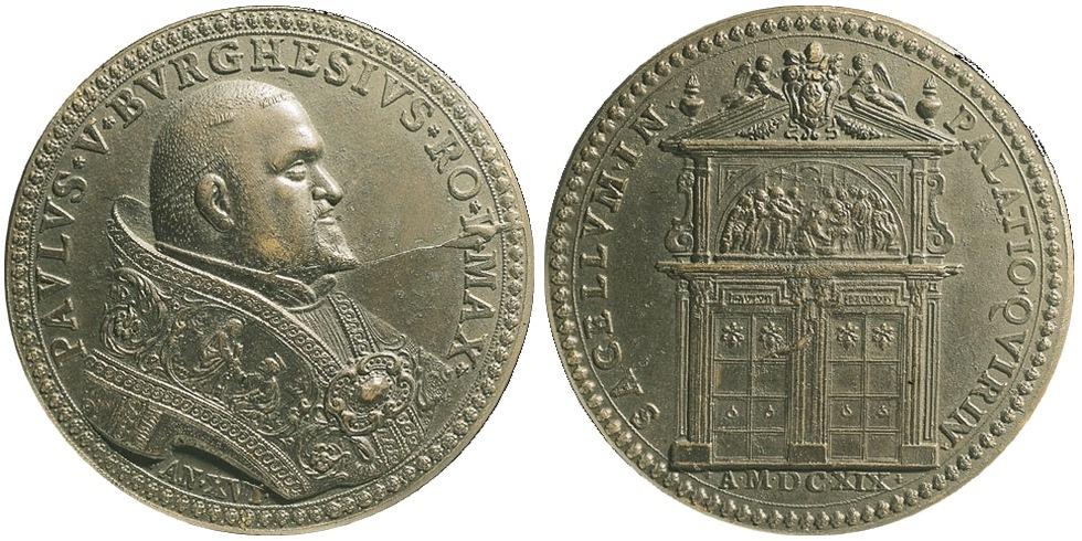 Бронзовая медаль с портретом папы римского Павла V (1605—1621), на реверсе изображены