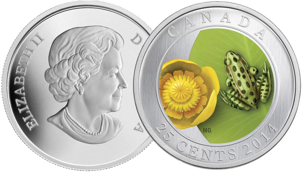 Жаба на монете 1,5см цвет золото уп/10шт