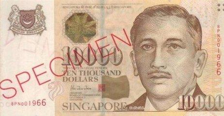 Сингапур откажется от 10 000 сингапурских долларов