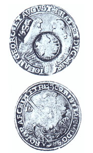Ефимок. Перечеканен из саксонского талера 1605 г.