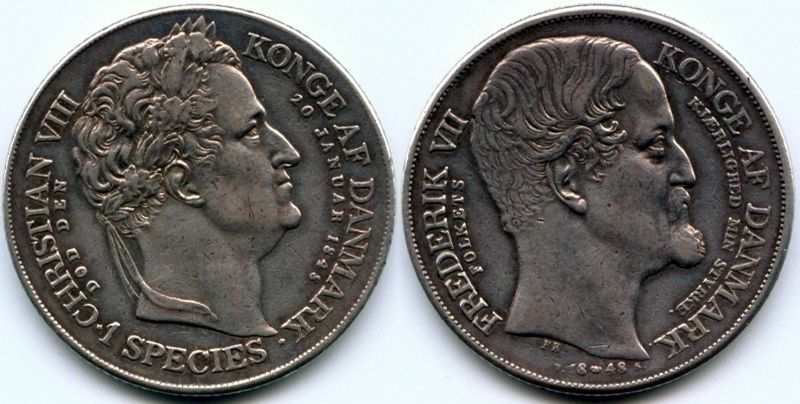1 ригсдалер специес 1848 г. - памятная монета по поводу смерти короля Кристиана VIII и взошествия на престол короля Фредерика VII