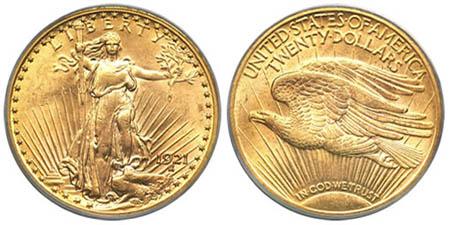 Золотая монета $20 «двойной орел» 1921 года