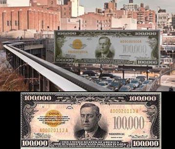 На улице Нью-Йорка выставили купюру в 100 тысяч долларов