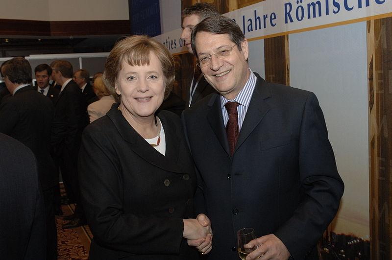Никос Анастасиадис и Ангела Меркель на евросаммите в 2007 году