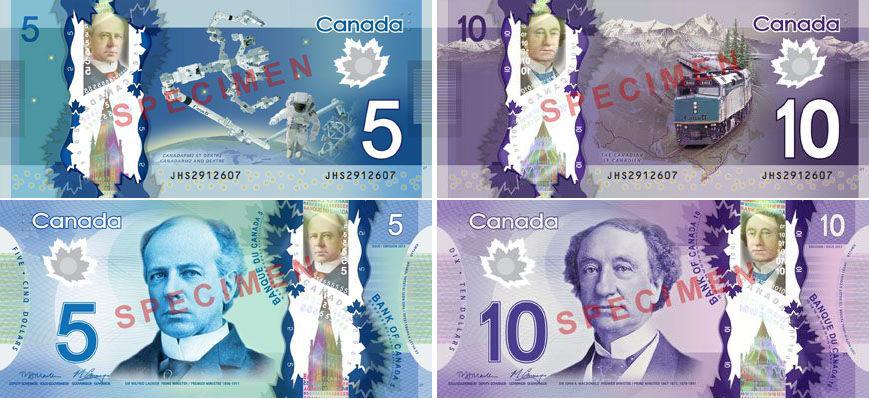 Полимерные банкноты $5 и $10