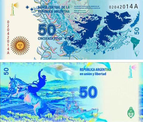 Argentina new 50-peso Falklands commemorative note reported