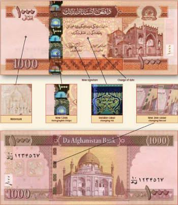 Афганистан выпустил новую банкноту в 1 000 афгани
