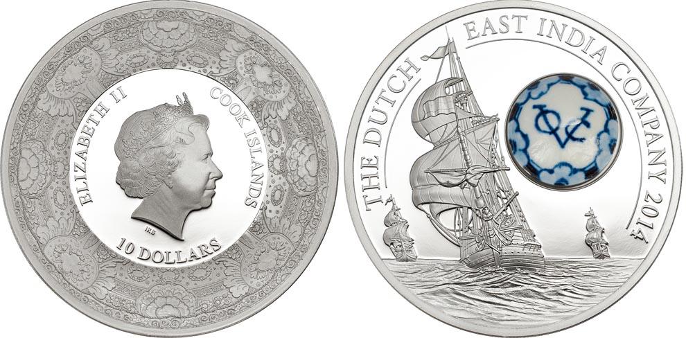 Вставка из фарфора на голландской монете