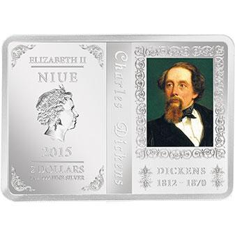 Чарльз Диккенс на серебряной монете