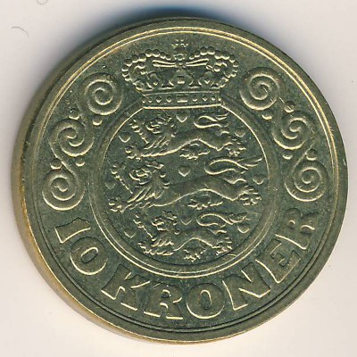 Coins Catalog Denmark 10 Kroner 1989