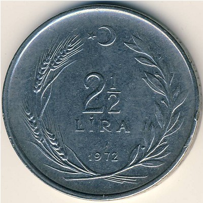 Turkey, 2 1/2 lira, 1969–1980