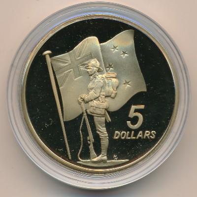 Новая Зеландия, 5 долларов (1990 г.)