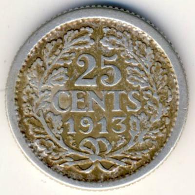 Нидерланды, 25 центов (1913 г.)