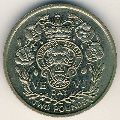 2 POUNDS UNC COIN 1995 YEAR KM#465 VE AND VJ DAY ISLE OF MAN