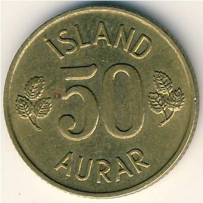 Iceland 1969-50 Aurar Nickel-Brass Coin