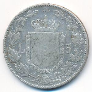 Италия, 5 лир (1879 г.)