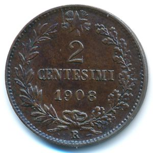 Италия, 2 чентезимо (1908 г.)