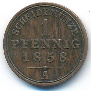 Шаумбург-Липпе, 1 пфенниг (1858 г.)