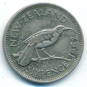 Новая Зеландия, 6 пенсов (1962 г.)