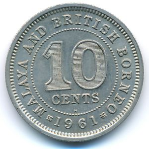 Malaya and British Borneo, 10 cents, 1953–1961