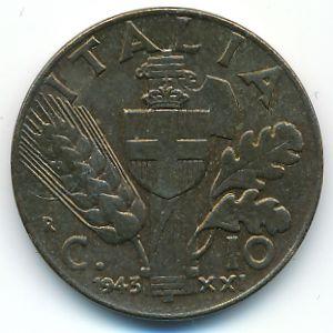 Италия, 10 чентезимо (1943 г.)