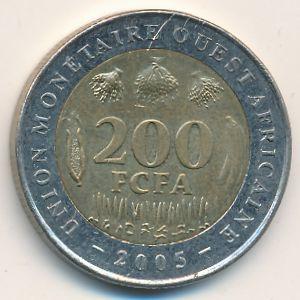 Западная Африка, 200 франков (2005 г.)