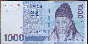 Южная Корея, 1000 вон (2007 г.)