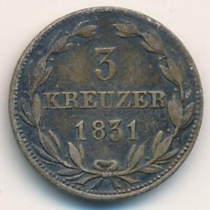 Нассау, 3 крейцера (1831 г.)