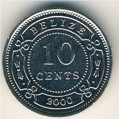 Belize, 10 cents, 1974–2000