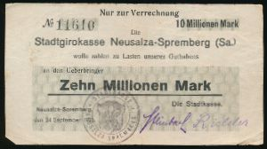 Нойзальца-Шпремберг., 10000000 марок (1923 г.)