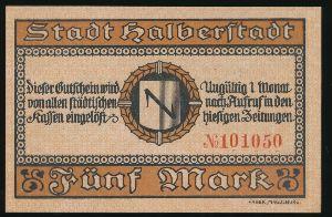 Хальберштадт., 5 марок (1918 г.)