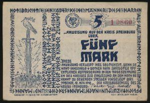 Штайнбург., 5 марок (1918 г.)