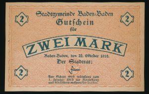 Баден-Баден., 2 марки (1918 г.)