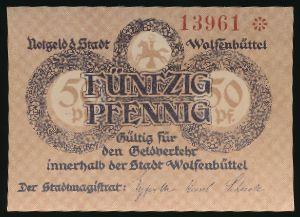 Вольфенбюттель., 50 пфеннигов (1918 г.)
