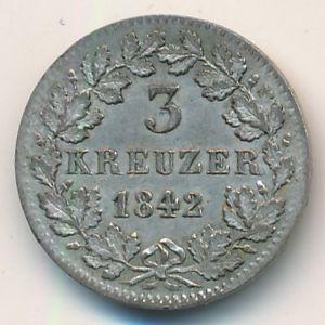 Бавария, 3 крейцера (1842 г.)