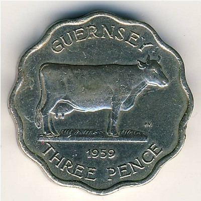 Guernsey, 3 pence, 1959–1966