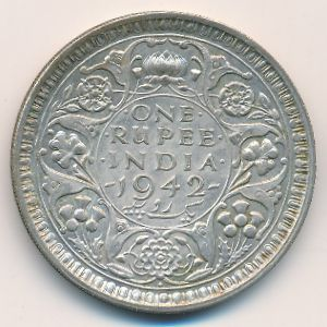 Британская Индия, 1 рупия (1942 г.)