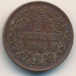 Баден, 1/2 крейцера (1865 г.)