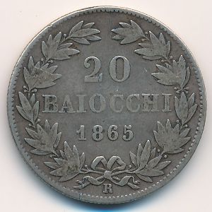 Папская область, 20 байоччо (1865 г.)