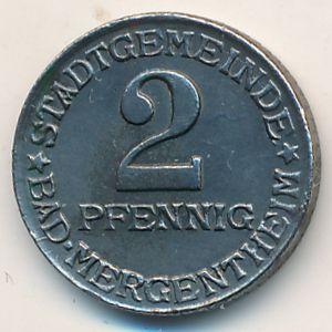 Мергентхайм., 2 пфеннига (1920 г.)