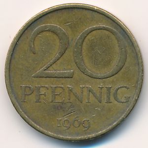 ГДР, 20 пфеннигов (1969 г.)