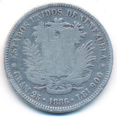 Венесуэла, 5 боливар (1886 г.)
