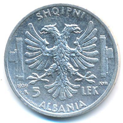 Албания, 5 лек (1939 г.)