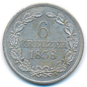 Саксен-Кобург-Гота, 6 крейцеров (1838 г.)